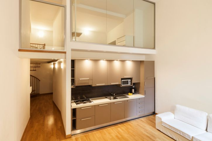 Tiny Apartment With Gled In Loft Above The Kitchen And Entry Hall
