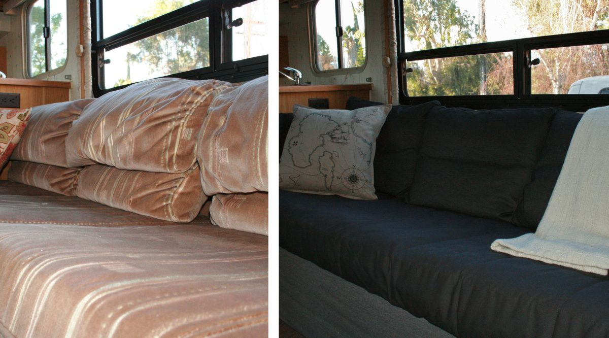 Stupendous Rv Renovation Jackknife Couch Before After Rv Couch Alphanode Cool Chair Designs And Ideas Alphanodeonline