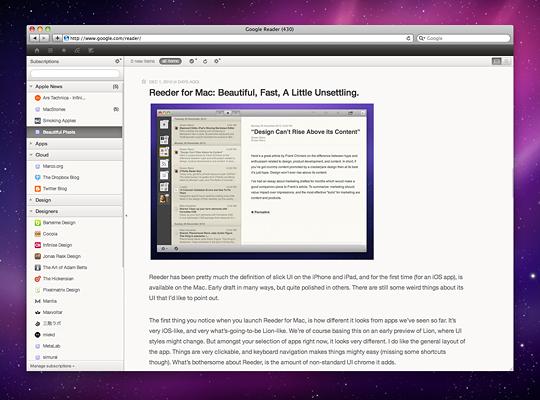 Google Reader mod for Safari and Chrome Mac os, Safari