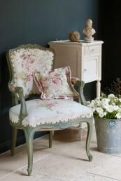 Wall painted in Graphite Chalk Paint, chair upholstered in Annie Sloan Faded Roses fabric