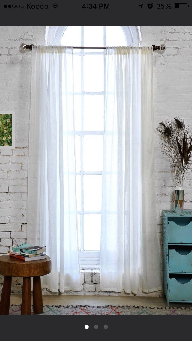 Perfect Sheer White Floor Length Curtains (x2) || Urban Outfitters