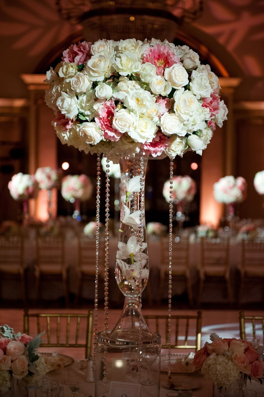 Gorgeous Ivory White And Pink Roses In Lovely Tall Crystal Holder For Amazing Elegant Christmas Wedding Table Centerpiece
