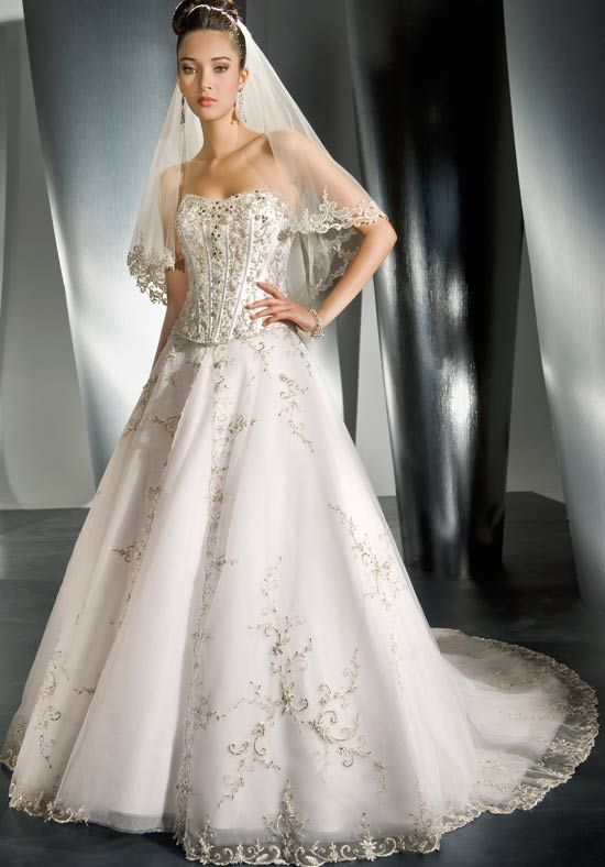 A-Line Strapless Floor Length Attached Sparkle Tulle Wedding Dress Style 985