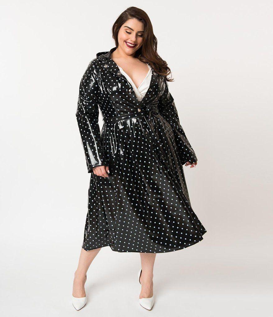 2d4dfc45444 Plus Size Vintage Style Black   White Polka Dot Long Sleeve Ruby Raincoat