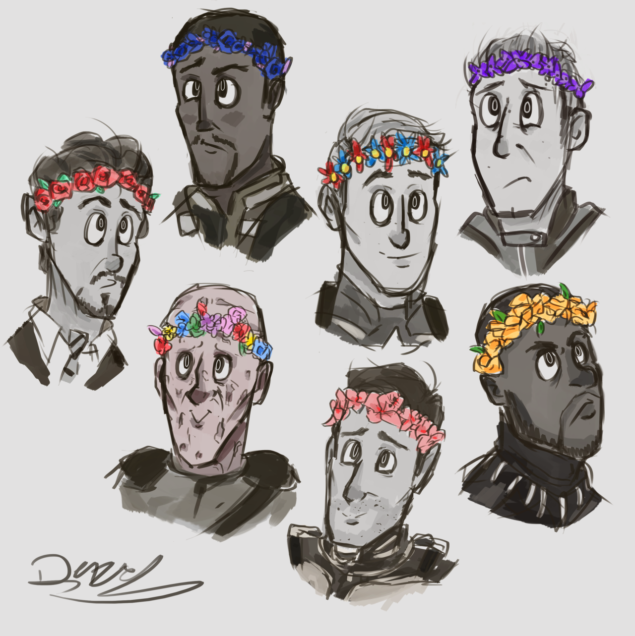 "captaindizzydizzy: "" some random marvel guys in flower crowns because I fucking can """