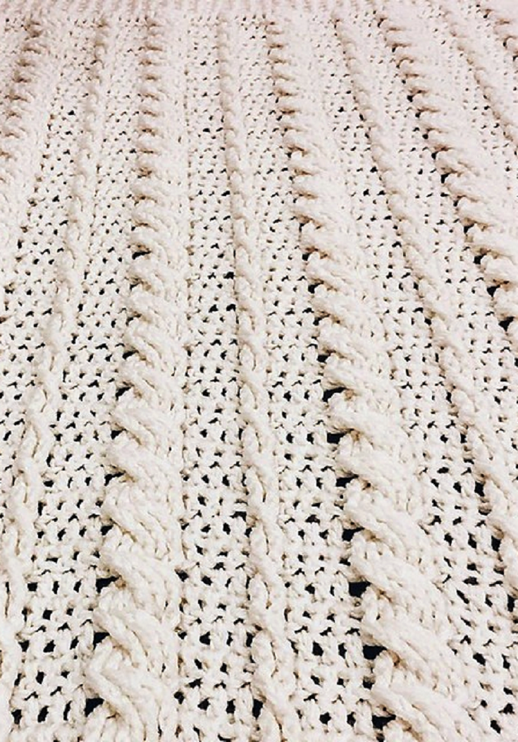 Free Pattern] Fabulous Crochet Cabled Wedding Blanket | Manta ...