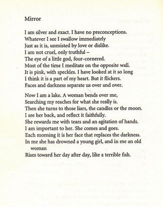 Mirror by Sylvia Plath (1932-1963). | poetry | Pinterest ...