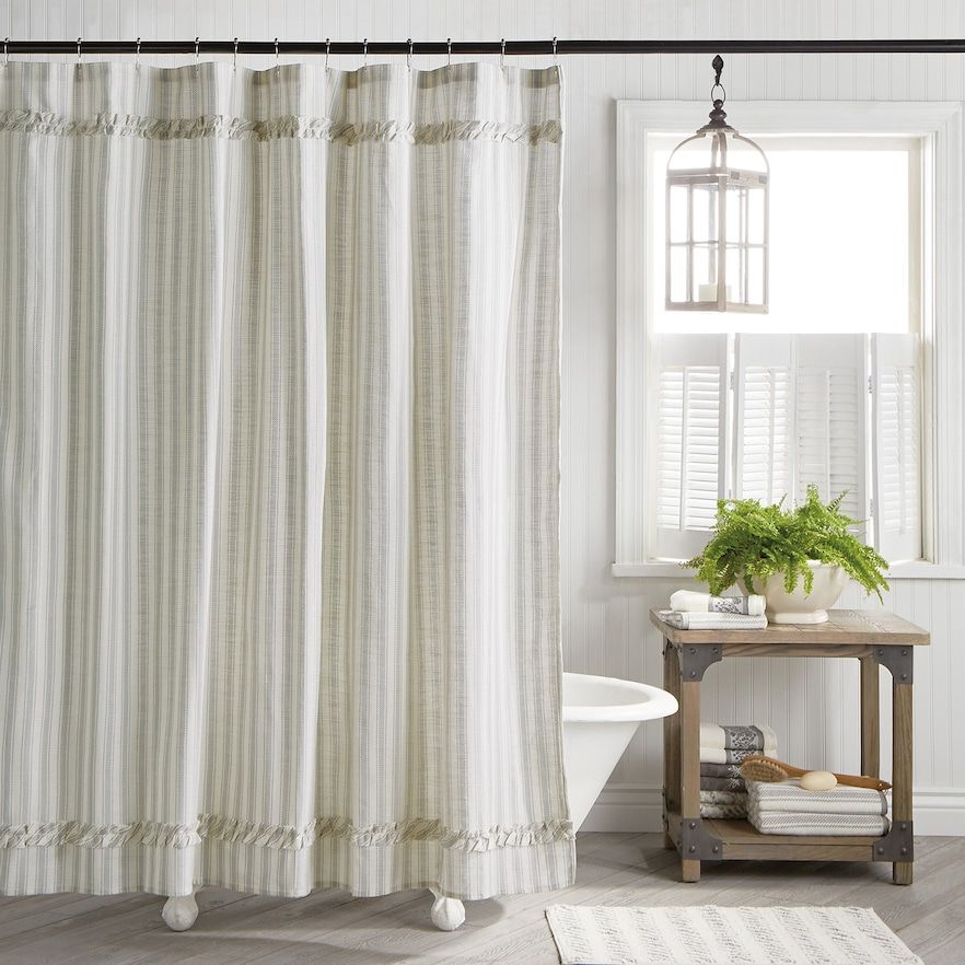 One Home Brand Farmhouse Country Stripe Shower Curtain Lt Beige