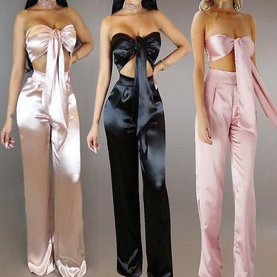 71c127681cd5 Satin 2 piece bow crop top pants set in 2019 | Clothes & Shoes | Bow ...