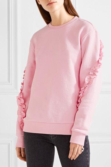 SJYP Steve J & Yoni P - Love Me Ruffle-trimmed Cotton-jersey Sweatshirt - Baby pink