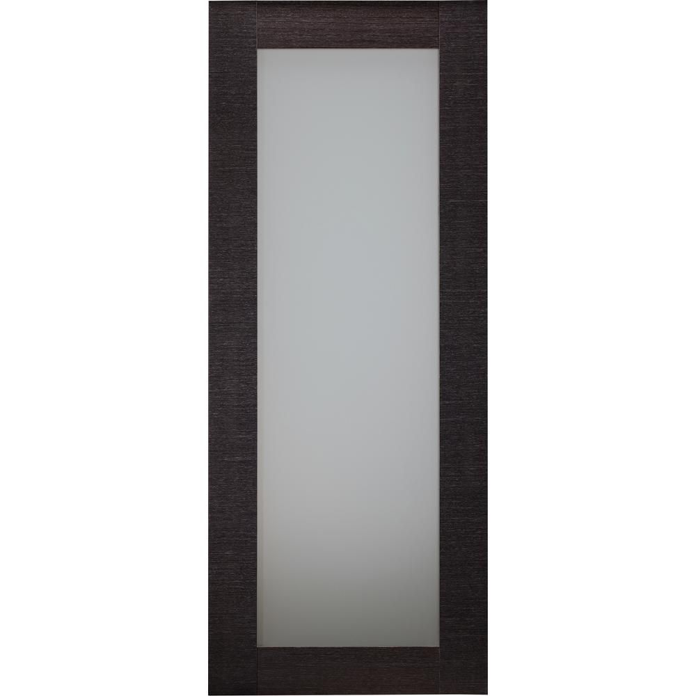 Belldinni 28 In X 80 In Avanti 207 Black Apricot Finished Solid Core Wood 1 Lite Frosted Glass Interior Door Slab No Bore Frosted Glass Interior Doors Prehung Interior Doors Frosted Glass