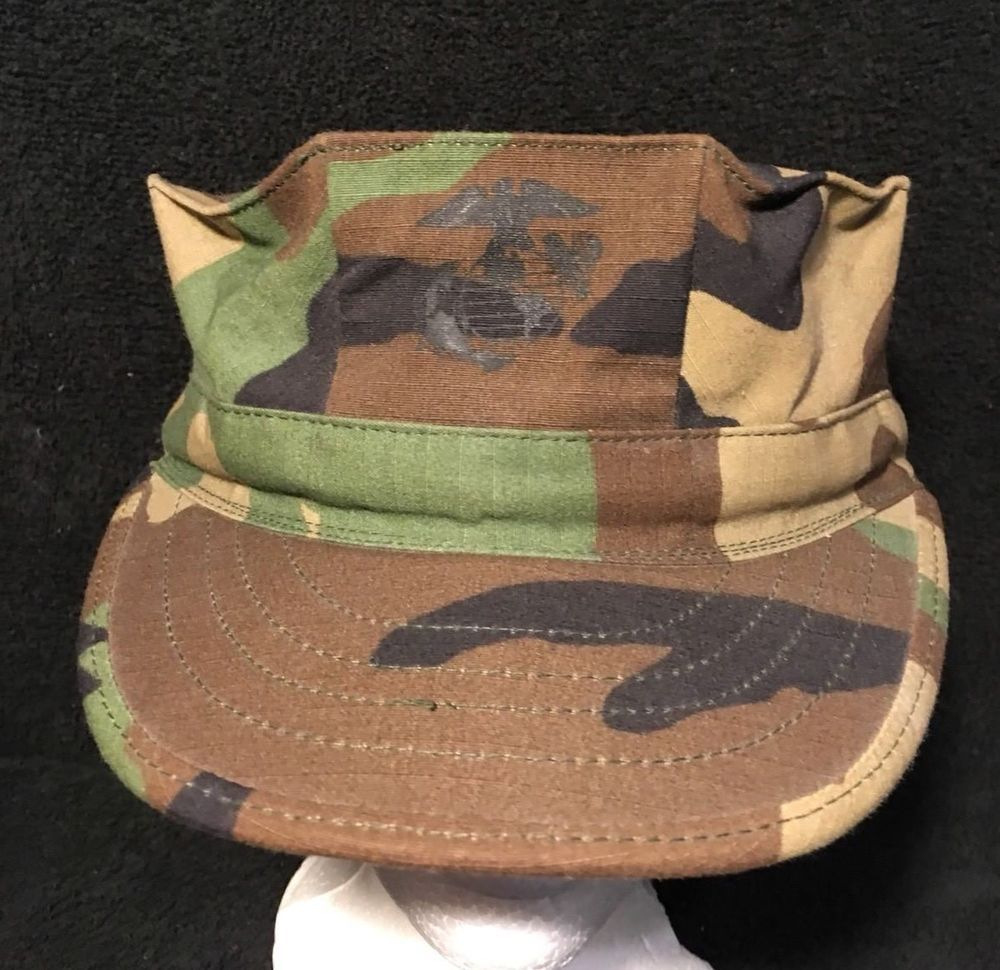 3b8fe51e USMC Hat Woodland Camouflage Small Military Issue 8 Point Cap w/ Emblem New  #SekriIndustries #FatigueCap