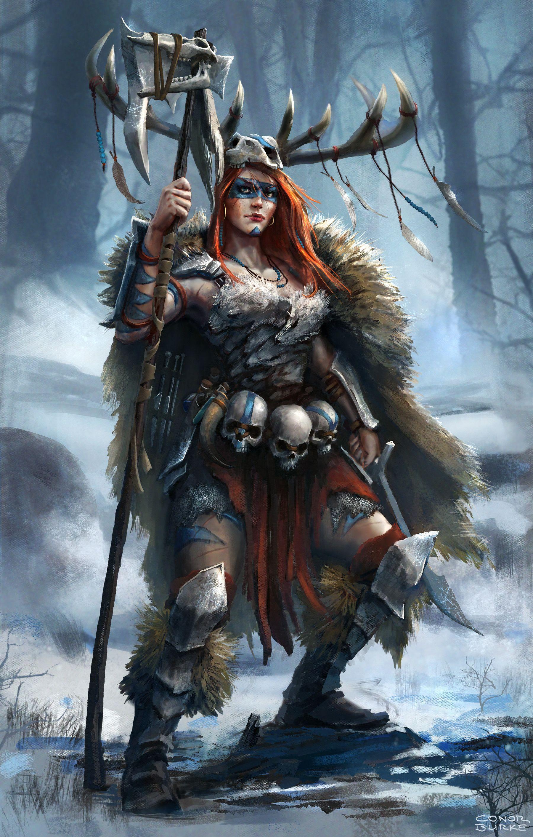 Artstation battle shaman conor burke female warriors - Fantasy female warrior artwork ...