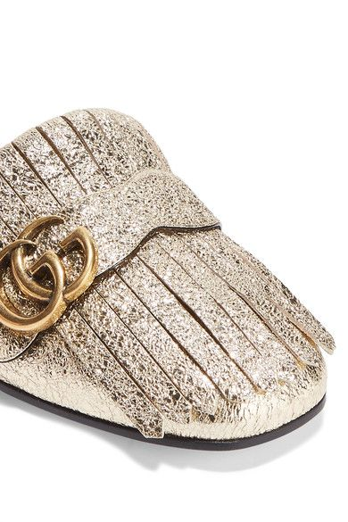 b446a7f43f5 Gucci - Marmont Metallic Cracked-leather Slippers - Gold
