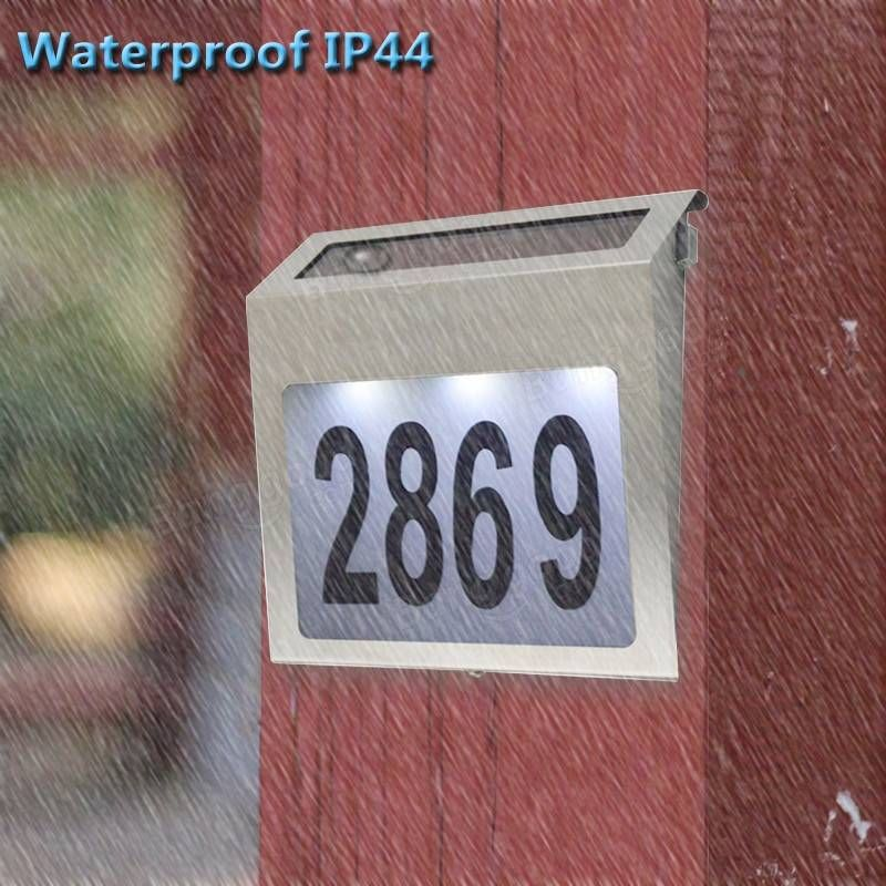 Waterproof Solar Powered LED House Address Door Number Doorplate Lamp Wall  Light