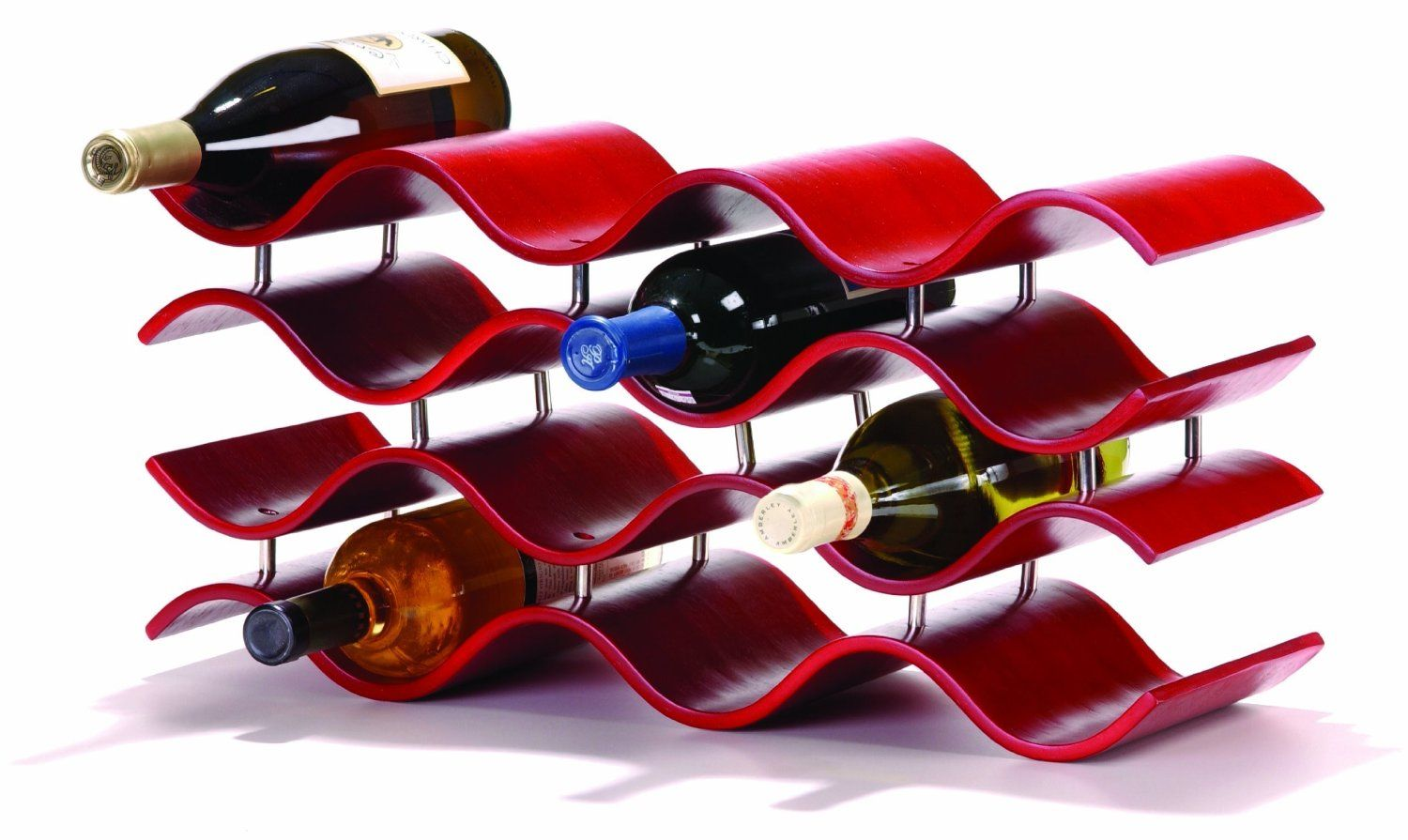 Amazon Com Oenophilia Bali 12 Bottle Wine Rack Crimson Red