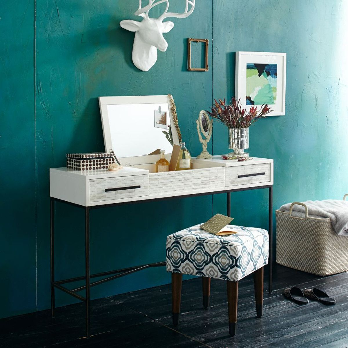 West elm bathroom cabinet - Wood Tiled Vanity West Elm Love If We Take The Smaller Bedroom For Makeup