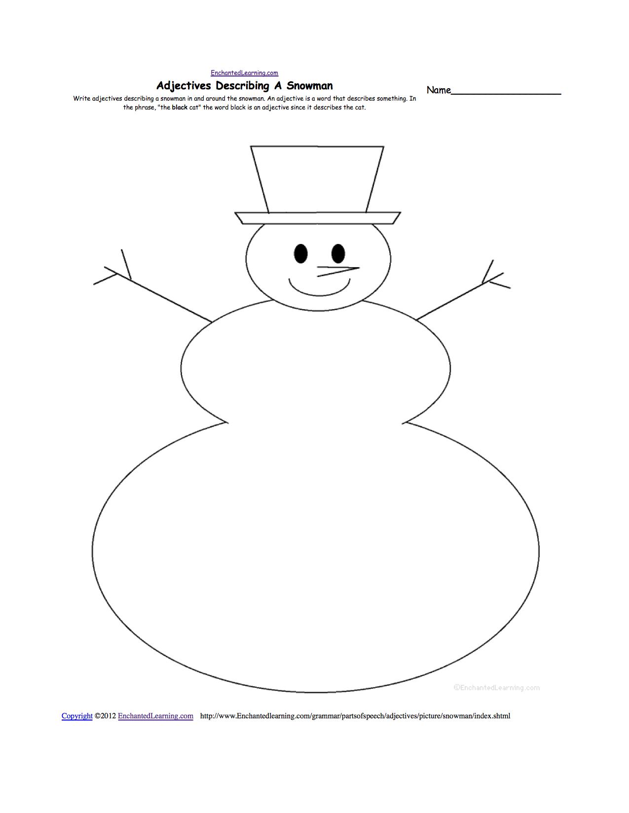 Blank Snowman Template Printable