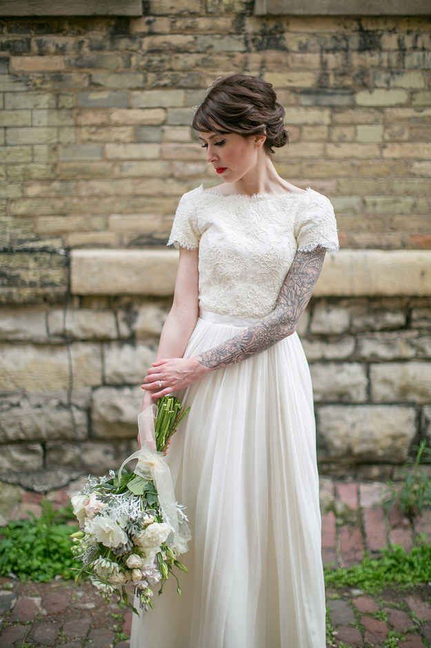 I Love Her Dress Too 23 Beautiful Brides Who Showed Off Their Tattoos With Pride