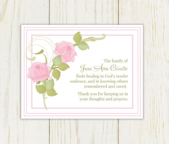 Pink Rose Sympathy Thank You Card Printable By Eloycedesigns
