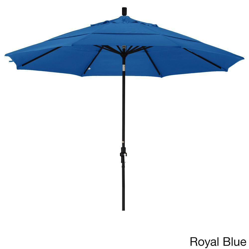 California Umbrella 11' Rd. Market Umbrella, Crank Lift, Collar Tilt, Dbl Wind Vent, Finish, Olefin Fabric