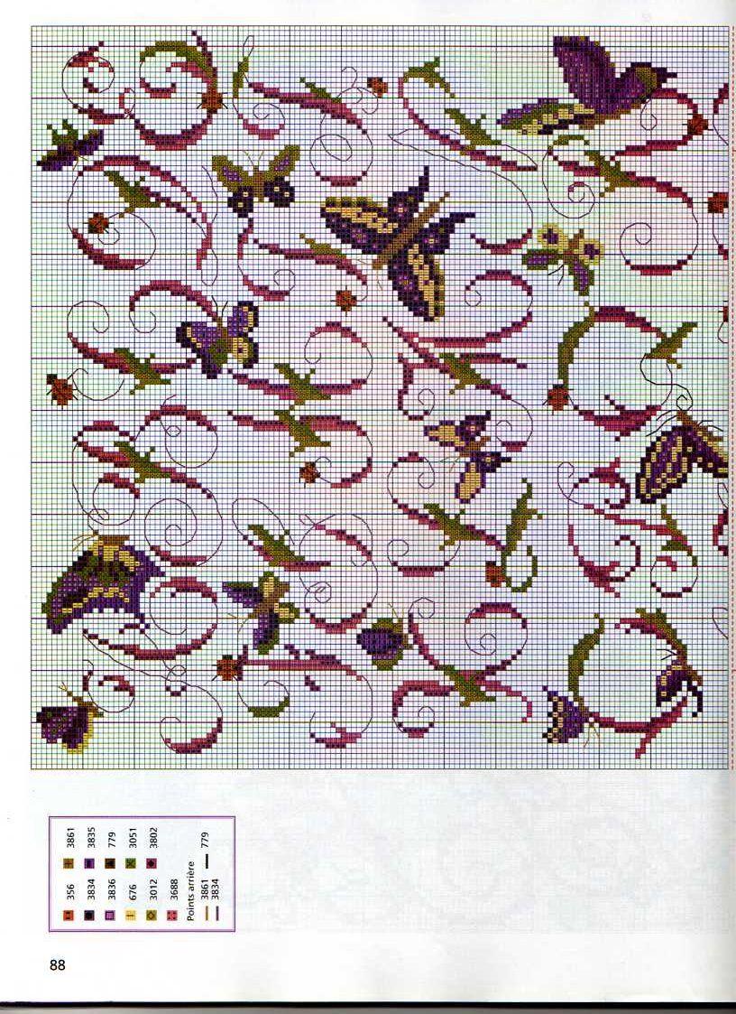 Schema punto croce alfabeto farfalle 1 cross stitch for Farfalle a punto croce
