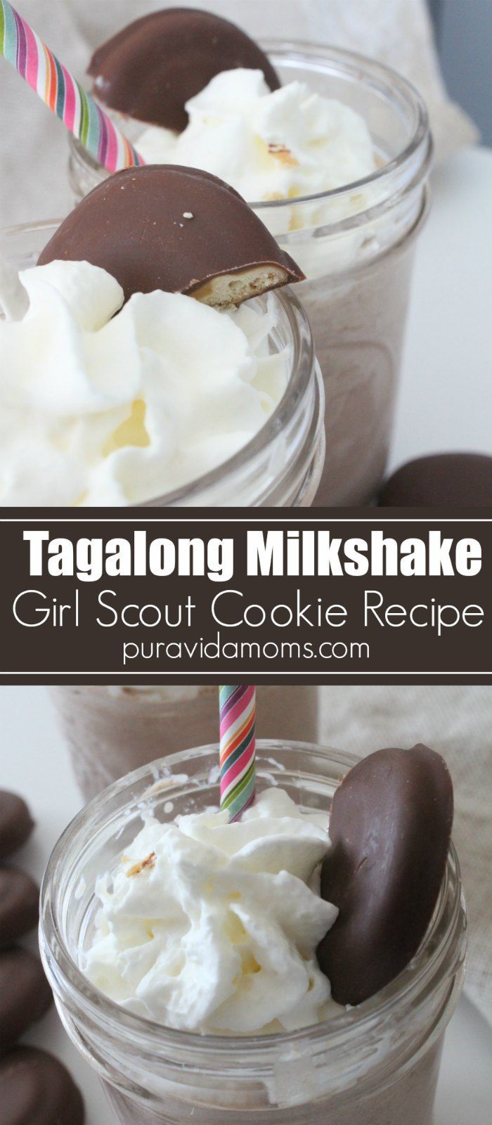 This Girl Scout Cookie Milkshake is the perfect place to dunk a Tagalong cookie. An easy dessert recipe that whole family will enjoy as a special treat! #girlscoutcookies #milkshake #dessert