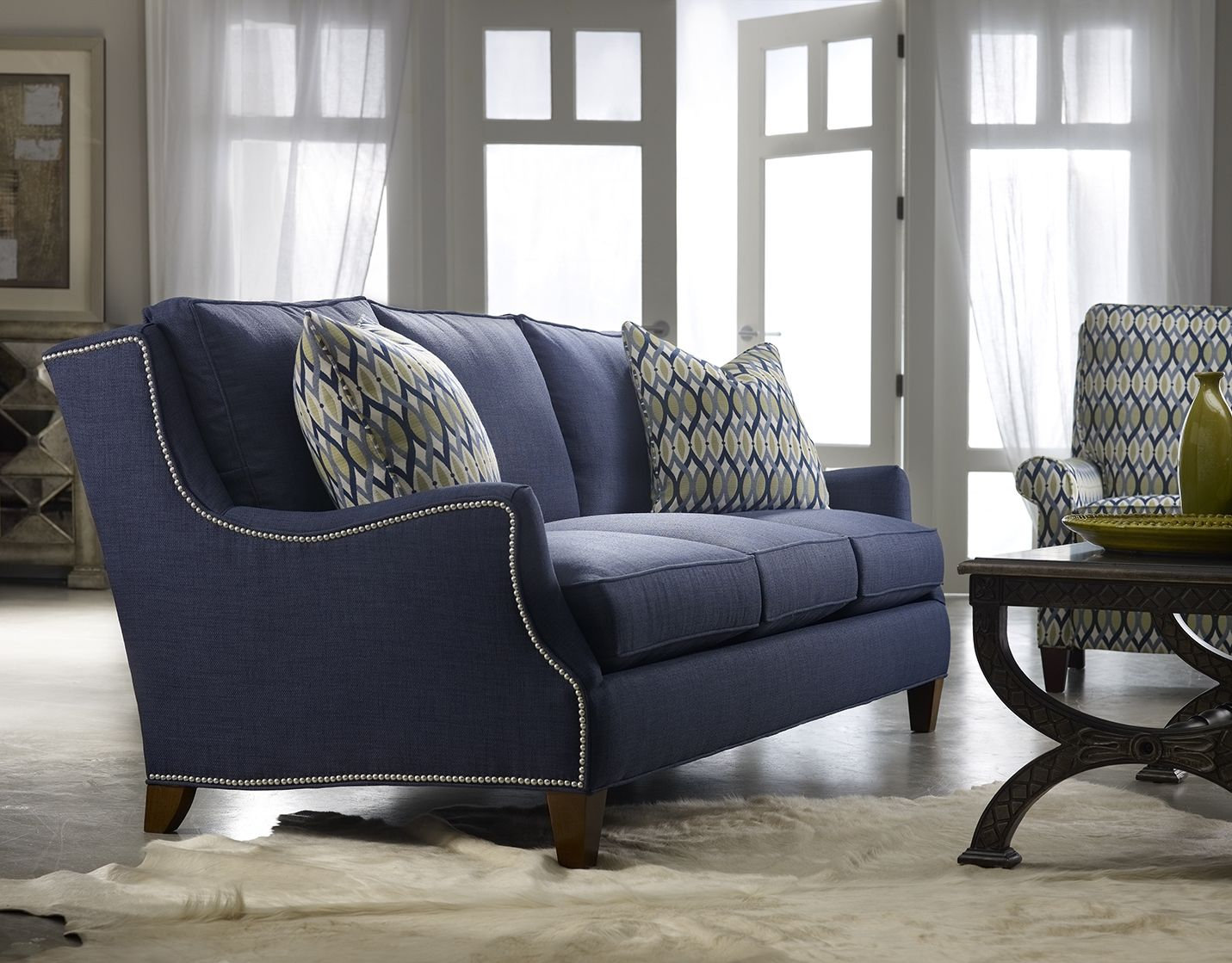 sam moore tansy sofa -- navy blue with nail head trim | furniture