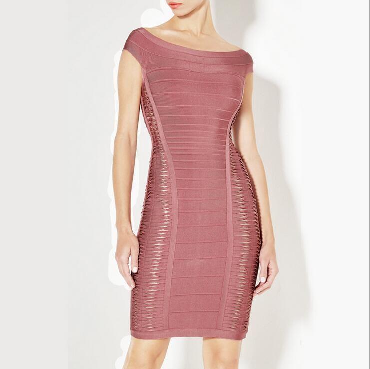 58ccc5f67182 Scoop Neck Hollow Light Coffee Bandage Dresses