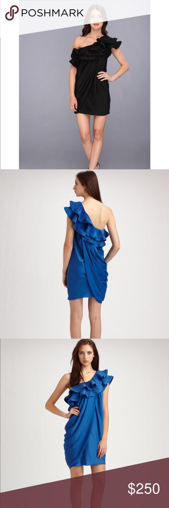 BCBG MaxAzria Ruffle One-Shoulder Draped Dress Worn once perfect condition!! BCBGMaxAzria Dresses Mini