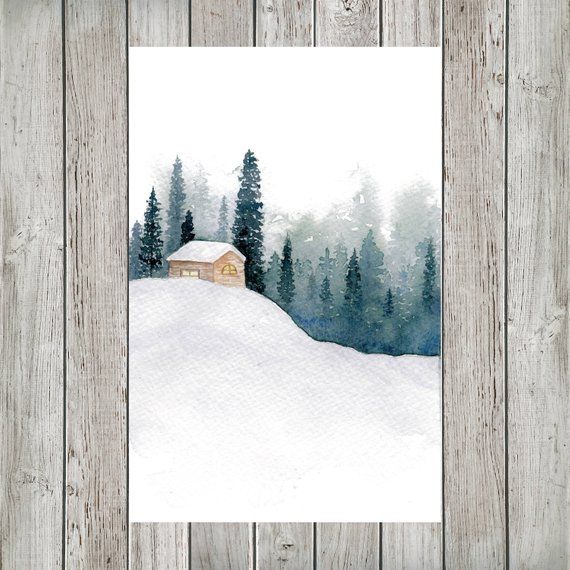Snowy Cabin in the Forest Mini Watercolor Calendar