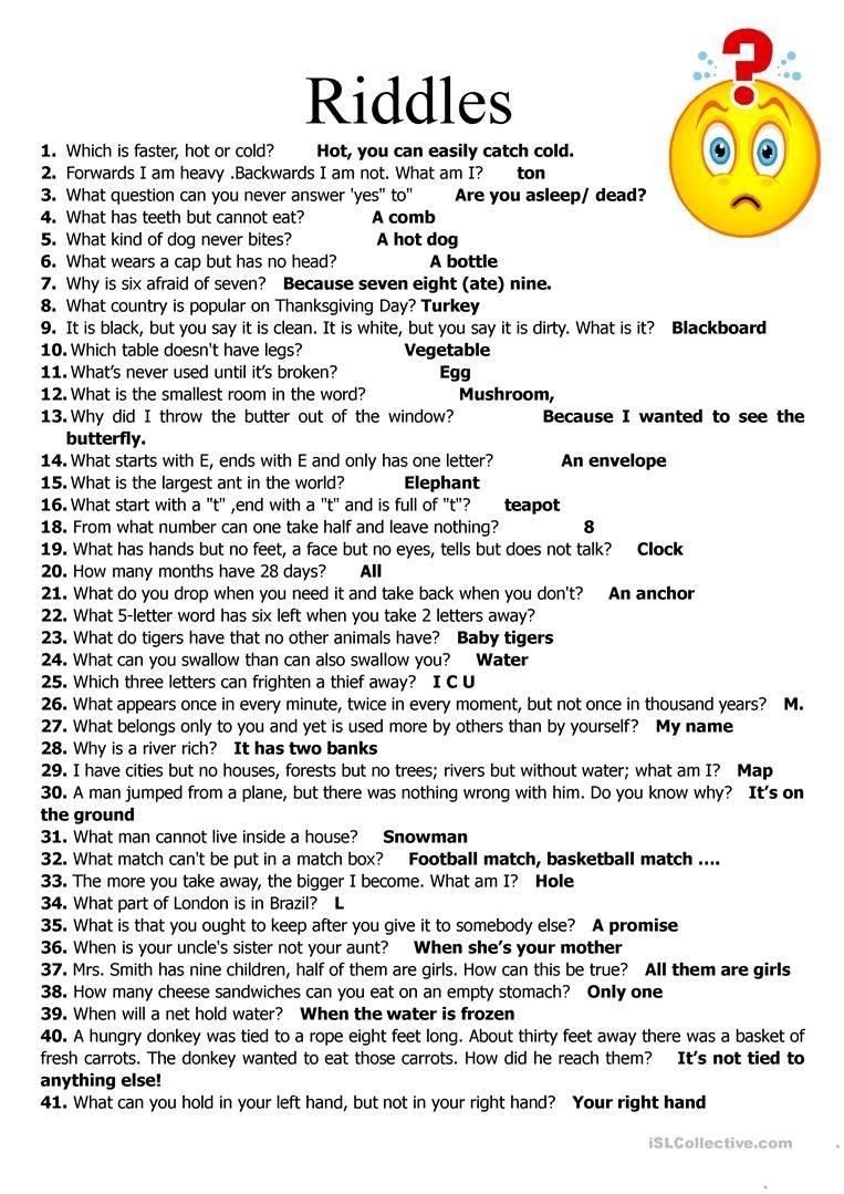 59 Riddles Riddles, Jokes for kids