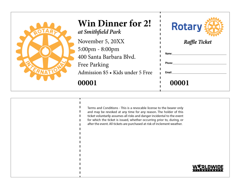Buy Event Raffle Tickets For Rotary Club Events Your Club Members Will Appreciate The Extra Professional Look Of These Raffle Tickets Fundraiser Raffle Raffle