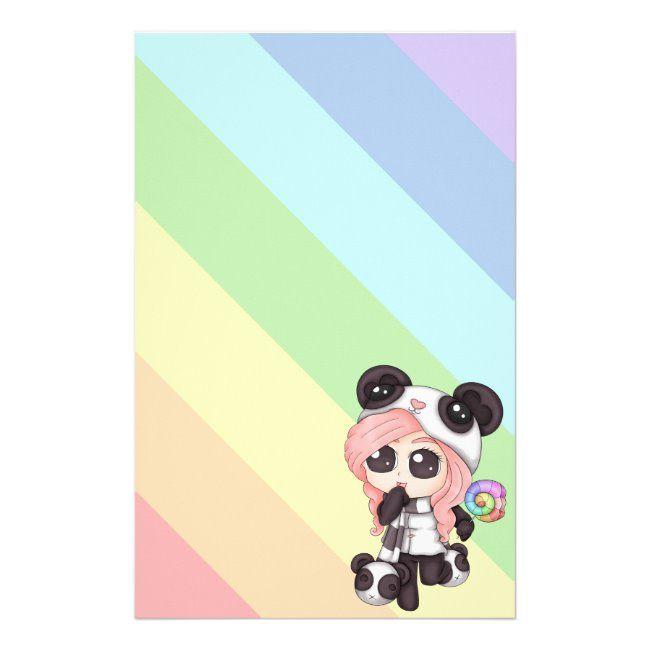 Cute Rainbow Anime Panda Girl Stationery #panda #chibi #anime #cute #kawaii #Stationery