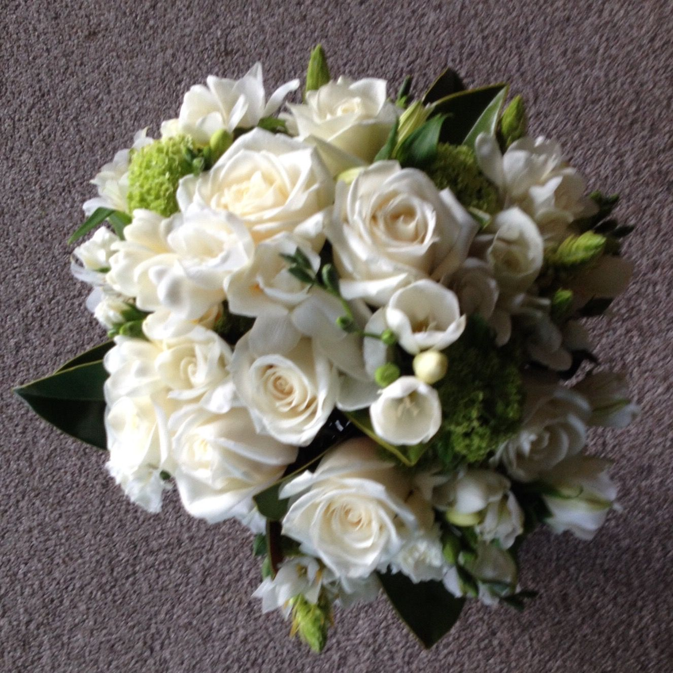 Brides Bouquet Green And White Roses Snowball Tree Freesias