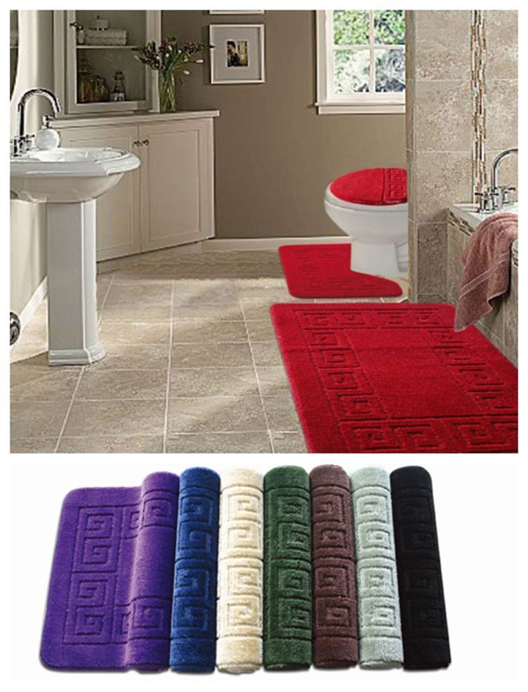 3pc Bathroom Rug Mats Bath Set Bath Mat Contour Rugs Toilet Lid