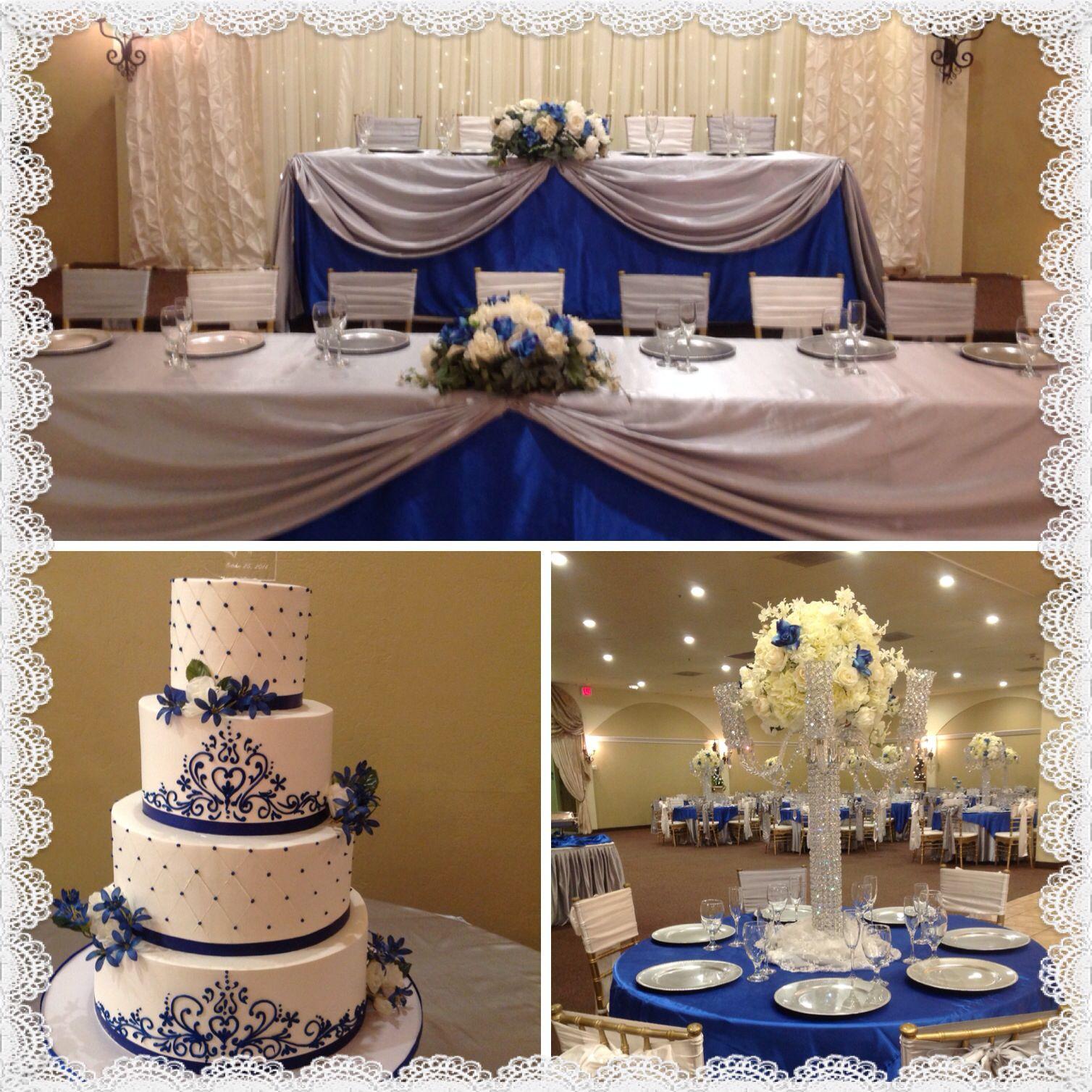 Wedding Decor In Royal Blue And Silver At Villatuscanareceptionhall
