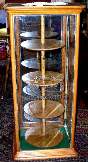 Oak Display Case With Revolving Shelves Etched Glass Brass Lantern Antiques Glass Shelves Display Case Vintage Display