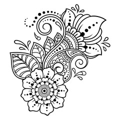 Photo of Mehndi flower pattern for Henna drawing and tattoo. Decorati…
