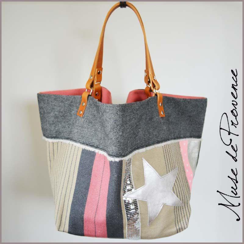 Préférence sac cabas en tissu paillettes et cuir | tissus crea | Pinterest  JP69