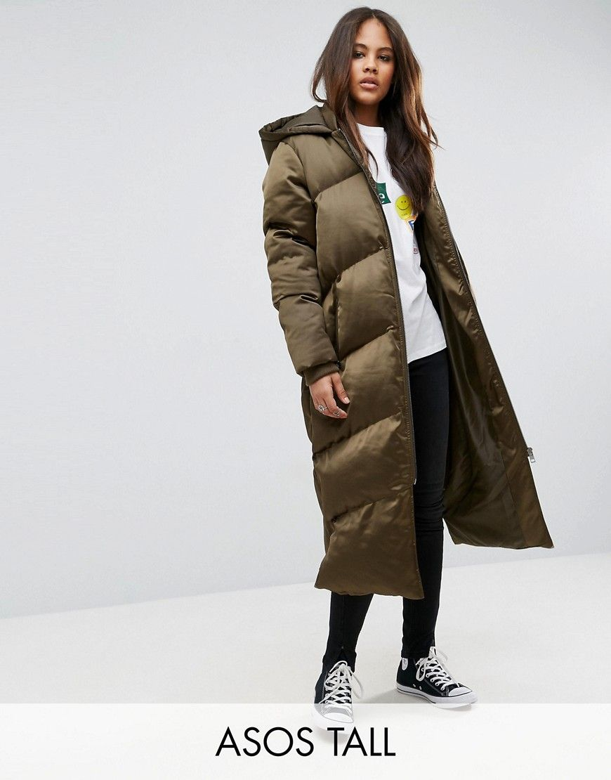 b8068bf28 ASOS TALL Longline Puffer Jacket - Green | Products | Coats for ...