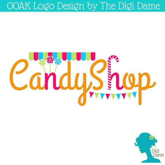 ooak premade logo design candy shop lollipops in pink by