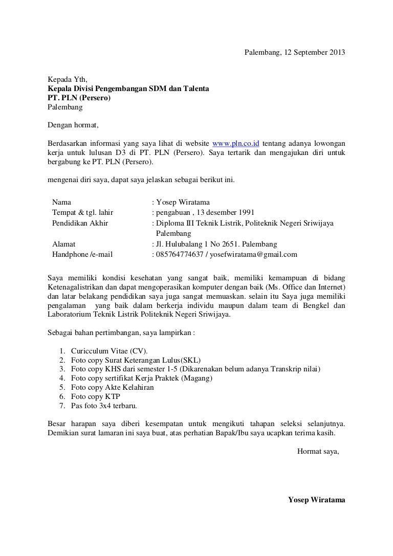 15 Contoh Surat Lamaran Kerja Bumn Pt Pln Semua Posisi Jaminan Diterima Surat Tulisan Pendidikan