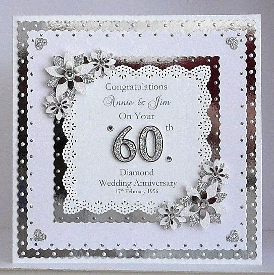 Diamond Wedding Anniversary Card for Wife/Husband/Mum Dad/Nan Grandad/Friends etc Large Handmade Personalised