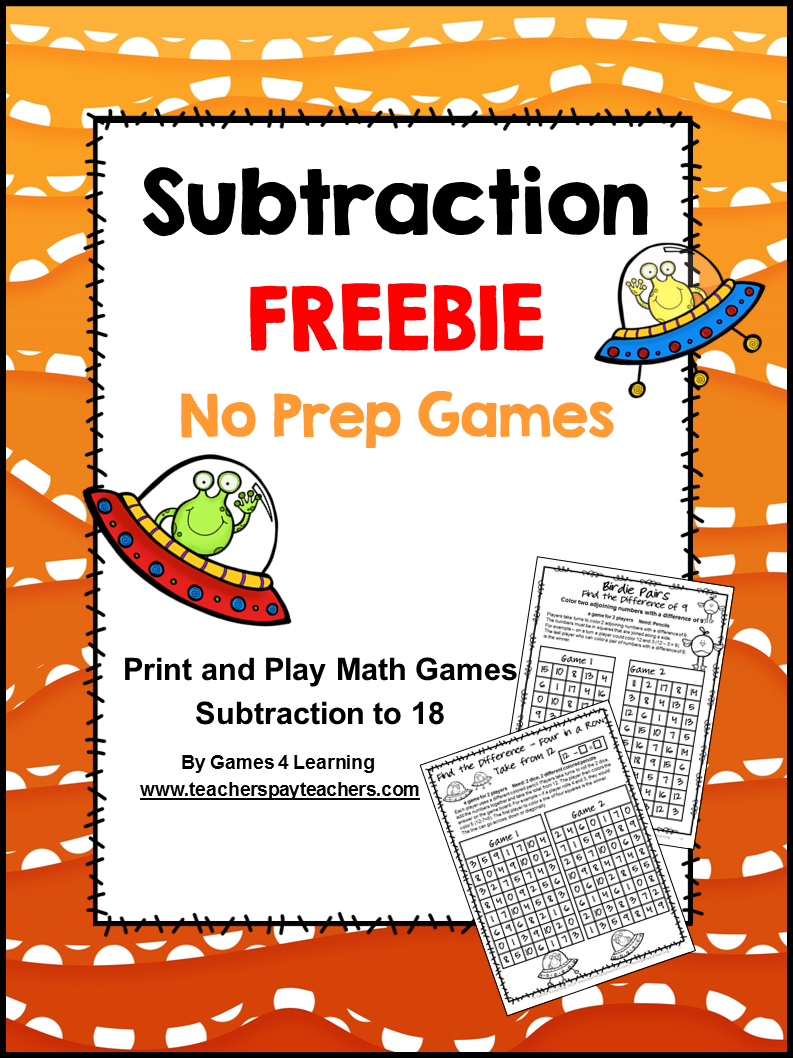 Free NO PREP Subtraction Games for Subtraction Fluency
