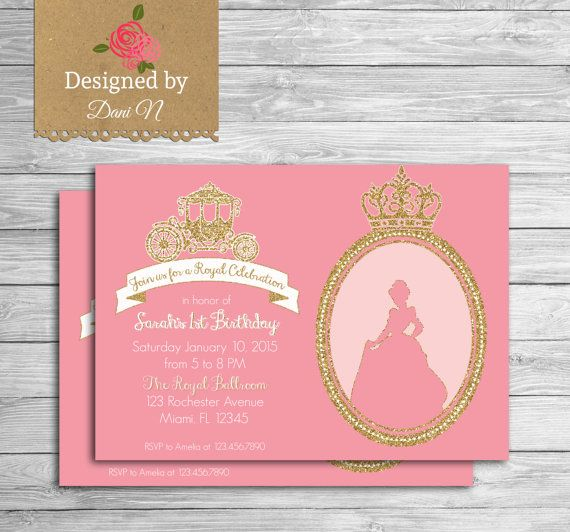 Princess Birthday Invitation Glitter Sparkle Printable Invite Crown Pink And Gold Party First Any Age