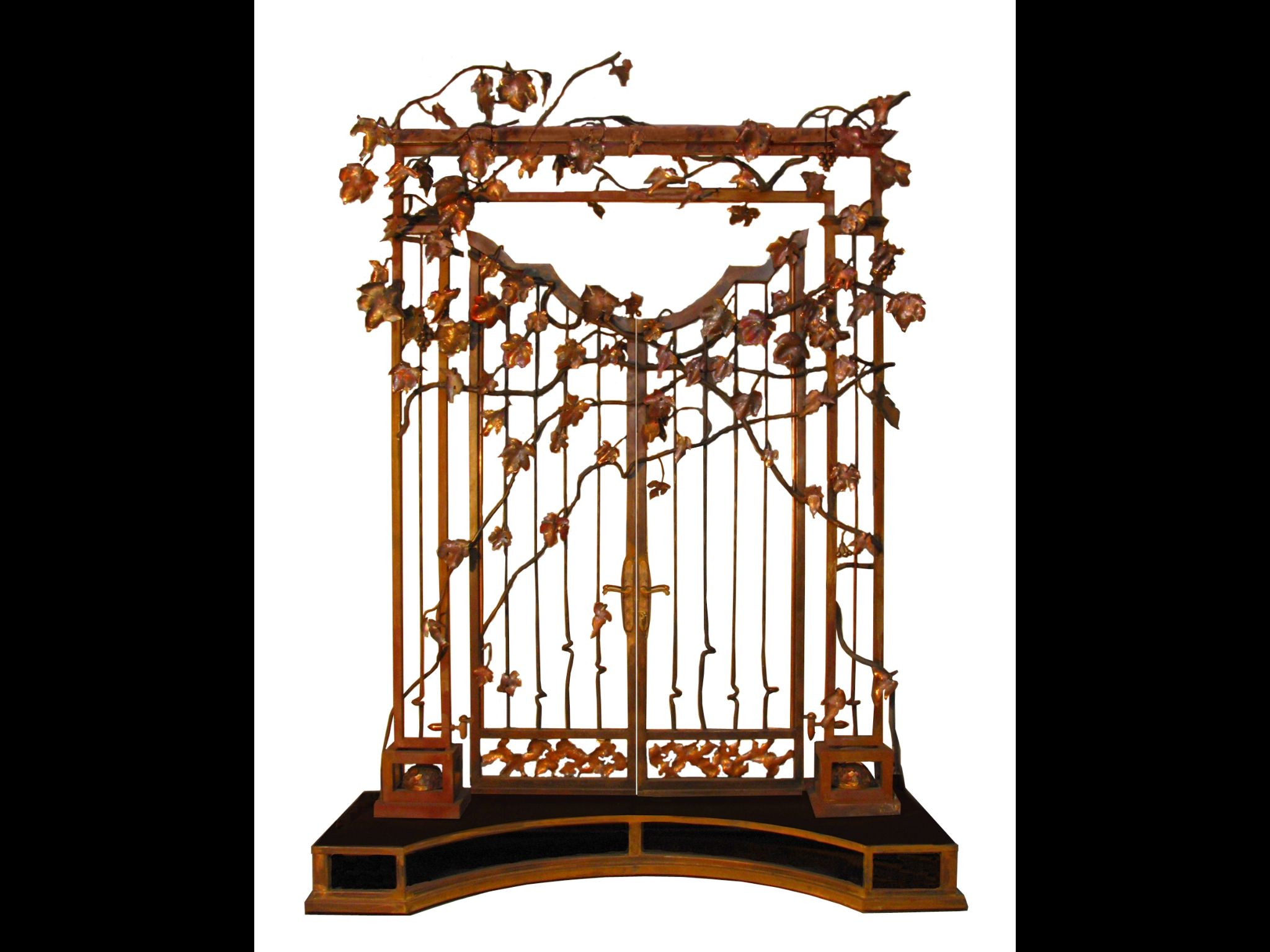Rod iron gate design with copper leaves
