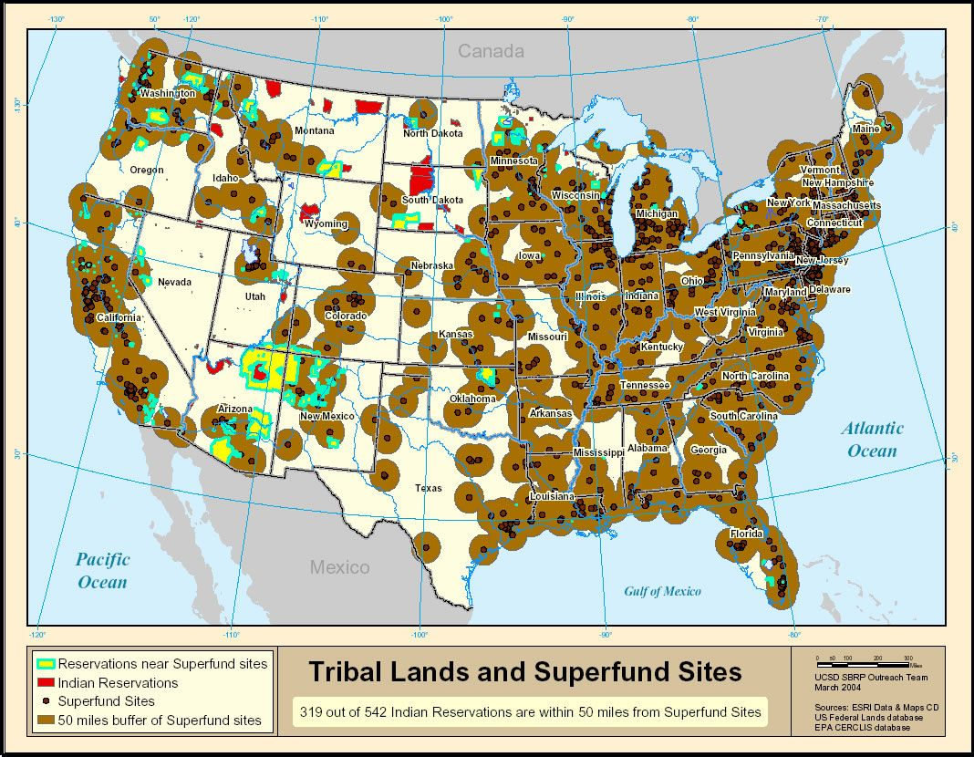 Tribal Lands And Superfund Sites Image From Environmental Justice - Us superfund site map