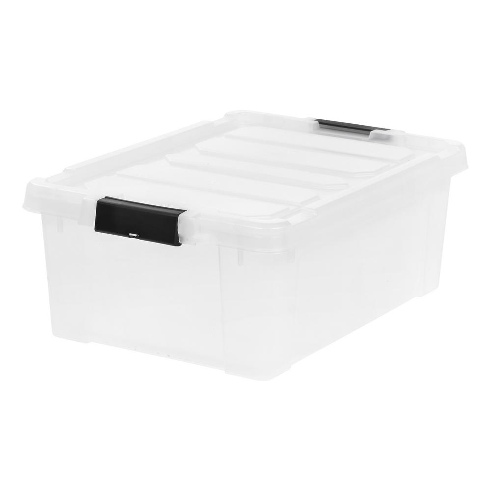 Iris 10 Gal Store It All Storage Bin In Clear With Black Buckles
