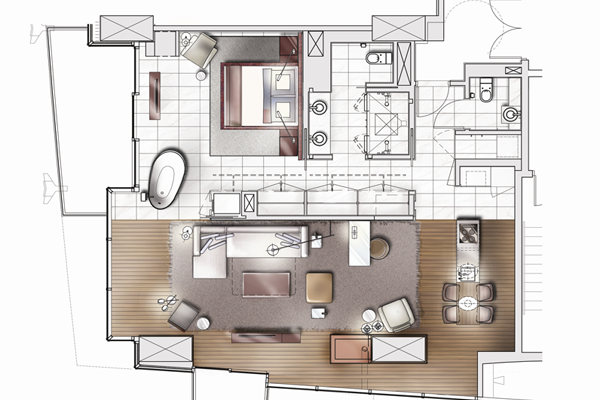 Palms Place One Bedroom Suite Floor Plan